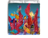 Coral and Tropical Fish Duvet Cover from my art.