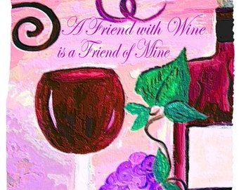 A friend with red wine is a friend of mine wine bar Throw Blanket from my original art