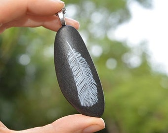 Feather Stones - hand painted beach stone pendant necklace