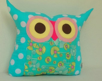 Room decor /Gift/kids and baby /Aqua Owl pillow/Ready to ship(large size)