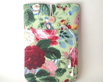 Vintage Floral Laptop Case MacBook Pro 13 Retina Bag Padded Cover Cord Pocket Sleeve Sac English Cabbage Garden Roses Green Red Pink Flowers