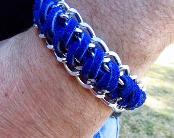 Mens Blue Leather Wrapped Silver Chain Cuff Bracelet - Mens Boho Leather Bracelet - Leather Mens Cuff - Mens Leather Bracelet - Boho Cuff