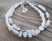 High Quality Genuine Blue Flash Moonstone with Fine and Sterling Silver Double Strand Bracelet