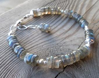 Super High Flash Smooth Labradorite Gemstone Sterling and Fine Silver Bracelet