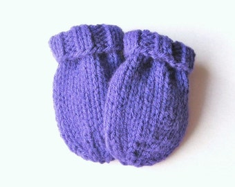 Purple Baby Mittens, Size 6 to 12 Months Hand Knit Baby Clothing, Ready to Ship, Thumbless Mitts Warm Winter Girl Mittens Baby Shower Gift