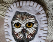 Owl in Birch Ornament - Made to Order Embroidered Fiber Art