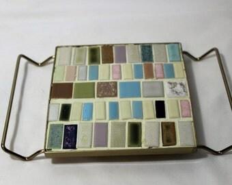 Vintage Mosaic Tile Trivet, Pastel Colors