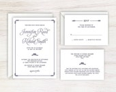 Tie the Knot Nautical Navy Rope Wedding Invitation Suite