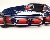 Dog Collar, New England Patriots, 1 inch wide, adjustable, quick release, metal buckle, chain, martingale, hybrid, nylon