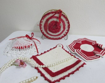 Crocheted Potholders Napkin Holder and Heart Pincushion Red and White