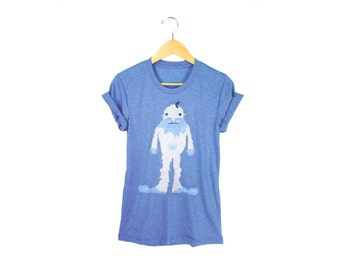 Yeti the Iceman Tee - Boyfriend Fit Crew Neck T-shirt with Rolled Cuffs in Heather Blue and Ice Storm - Women's Size S-4XL