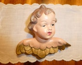 Vintage Cherub Wall Hanging Ceramic Cherub Angel Shabby Chic Cottage