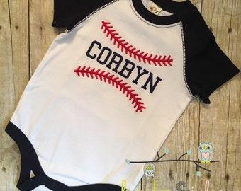Personalized Baseball Seams Bodysuit