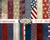 Rustic Americana-20 Digital Paper Pack **INSTANT DOWNLOAD** Wood, Stars & Stripes, Scrapingbooking Papers