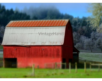 Red Barn Digital download / Vintage metal roof / Frosty / rustic / country / shabby chic / Photograph / Art download / Home Decor