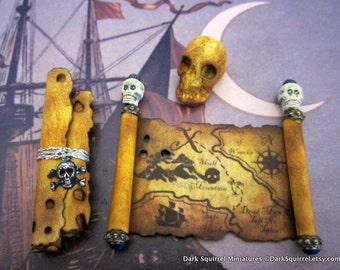 Pirate's Aged Map, Scroll and Skull set  dollhouse miniature in 1/12 scale