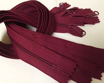 22 inch Handbag zippers with extra long pull, FIVE pcs, maroon, wine color YKK 525