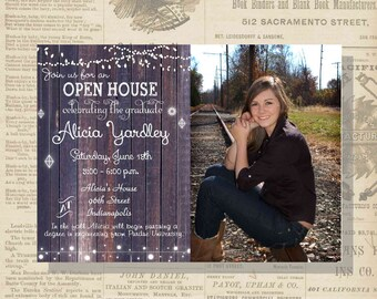 Digital Rustic Lights Photo Graduation Party Invitation Printable