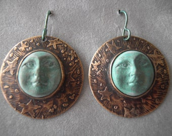 Earrings-Etched Brass Disks with Clay Moon Faces