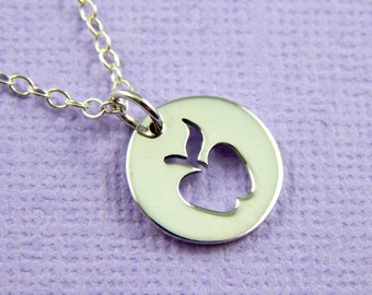 Apple Charm Necklace, Teachers Necklace, Teacher Appreciation Gift,Teacher Thank you,Sterling Silver Necklace,New Teacher Gift