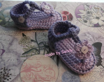 Flower Button Strap Flip Flop Style Sandals 0-3 mo - lavenders - ready to ship