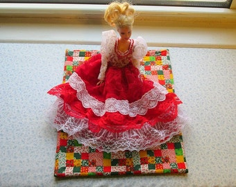 red mini patchwork  doll quilt