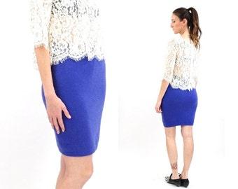 vintage BENETTON purple ANGORA wool BANDAGE skirt S-M