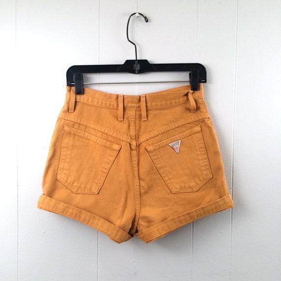 vintage GUESS mustard DENIM high waist SHORTS S-M