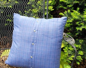 Upcycled Pillow Cover Blue Plaid Pink Pinstripe Pillow 18 inch pillow cover recycled mens shirt home decor preppy decor Quiltsy Handmade