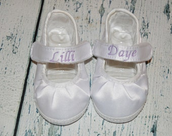 Personalized Baby Shoe MARY Jane Infant Monogrammed Shoe First and Middle Name
