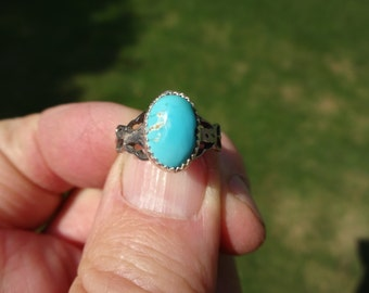 CLEARANCE SALE - Sterling Silver Blue Turquoise Ring - Size 6 3/4 - Fancy Silverwork