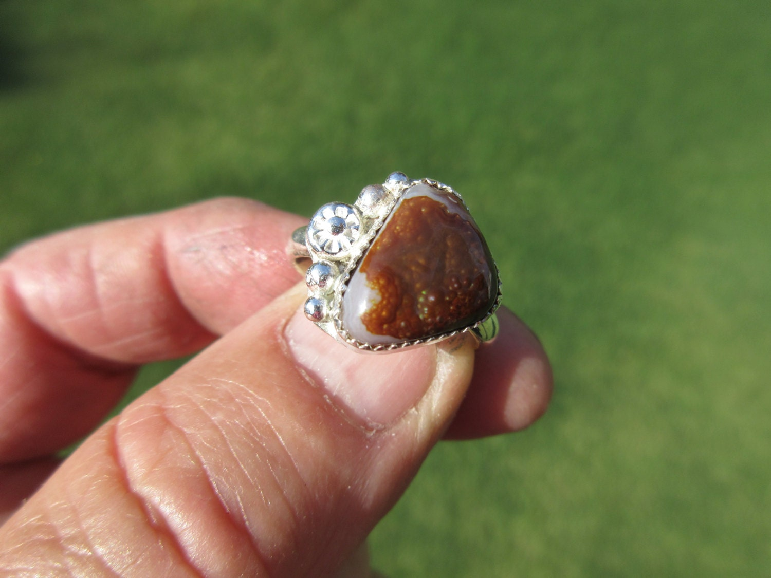 sterling silver agate ring size 9 free resizing