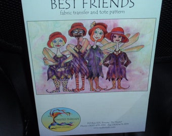 Best Friends Red Hat Society  Fabric Transfer and Tote Pattern by Trish Stuart    NEW