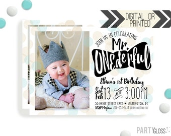 Mr. ONEderful Birthday Invitation | Digital or Printed | Gold Aqua Invitation | Mr. Wonderful Invitation |  Onederful Invite | Little Man