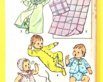 Uncut  Simplicity 5434  Size: New Born Babies Layette  Dress Bonnet  Vintage Sewing Pattern