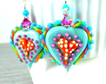 Colorful Funky Heart Earrings, Statement Earrings, Turquoise Blue Pink Orange Rainbow Glass Earrings, Whimsical Earrings, Lampwork Earrings