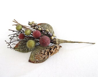 Vintage Pick for Hat, Bouquet, Wreath Holiday Fall Pine Cone, Berries