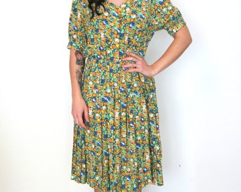 French vintage 1980s green and orange floral pleated dress - medium large - M L