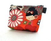 Kaori Kokeshi Dolls Cosmetic Bag Fabric Zipper Pouch Makeup Bag Alexander Henry Fabric Gadget Pouch Japanese Geisha Kawaii Red Black Olive