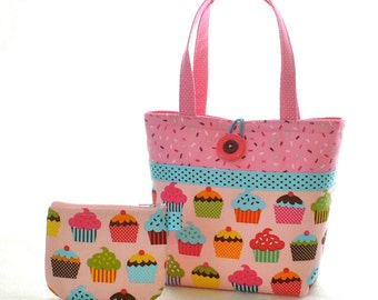 Colorful Cupcakes Sprinkles Fabric Kids Purse Little Girls Purse Coin Purse Set Mini Tote Bag Childs Bag Robert Kaufman Michael Miller MTO