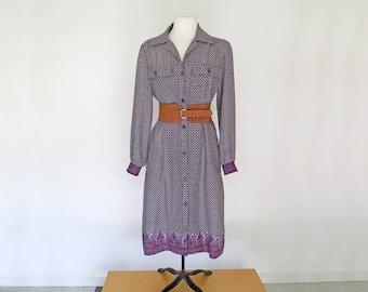 SUPERSTAR // 1970s purple button down shirt dress / L