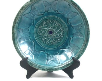 RAKU Pottery Butterfly Moth Sacred Geometry Bowl Ceramic Decorative Bowl