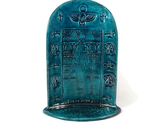 EGYPTIAN GODDESS HATHOR Shrine Handmade Raku Pottery