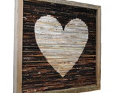 LARGE rustic heart framed art- made from recycled magazines, modern, silhouette, brown, neutral, colorful, recycled, brown, wood, wall art