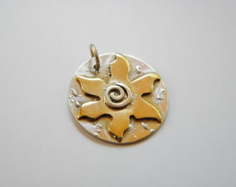Sun Pendant-Sterling Silver and Brass-hand fabricated-rustic-earthy
