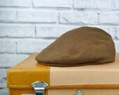 Mens Flat cap - Brown Irish Linen