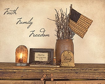 Patriotic Wall Decor,Primitive,Faith Family Freedom,Susie Boyer,Americana 16x12