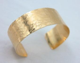 14K Gold Filled Wide Cuff Bracelet - Hammered Cuff - 14K Gold Bracelet - Champagne Bubbles Bracelet