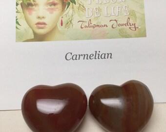 Carnelian Heart Stone. Gemstone Heart. Return of Love Talisman. Palm Size.  44mm. One (1)