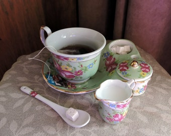 Faux Tea in a Sorelle Cup Porcelain Fake Food Photo Staging Prop